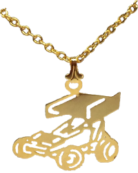 Gold Winged Sprint Car Necklace