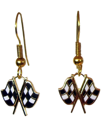 Gold Crossed Checkered Flags Ear Rings