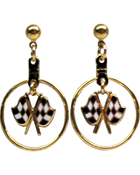 Gold Checkered Flags Dangle Ear Rings