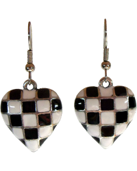 Silver Heart Checkered Flag Ear Rings