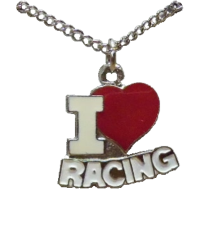 I Love Racing Necklace, Silver