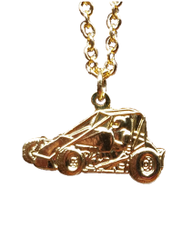 "Non Wing Sprint Car Necklace Gold on 18"" Chain"