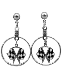 Silver Checkered Flags Dangle Ear Rings