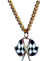 Gold Crossed Checkered Flags Necklace