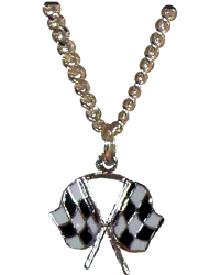 Silver Crossed Checkered Flags Necklace
