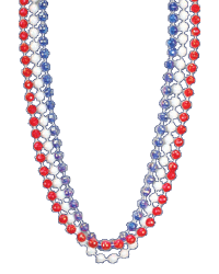 Red, White & Blue Throw Beads 33""