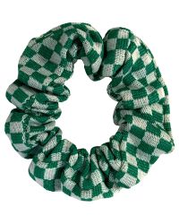 Hair Scrunchie Green & White