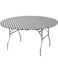 Round Table Cover Checkered 60""