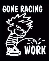 Calvin Gone Racing Pee On Work Decal